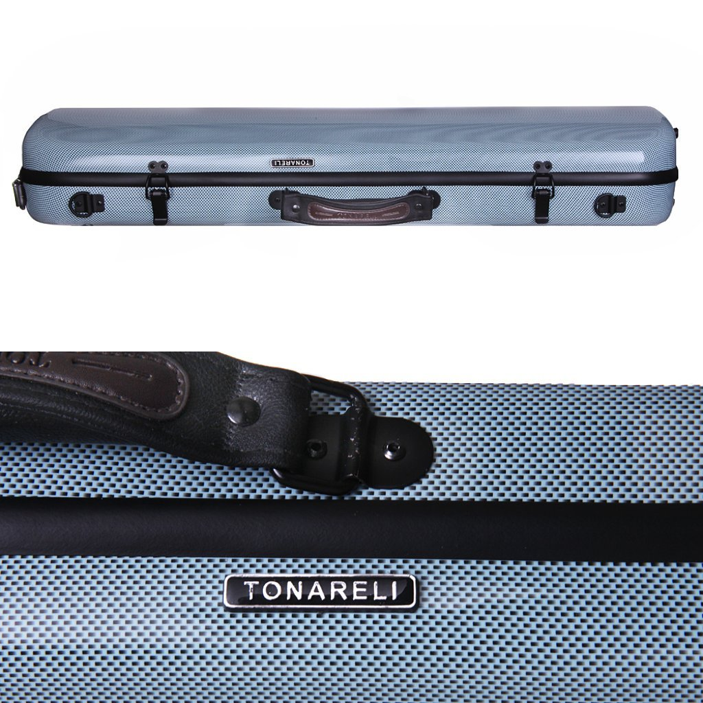 Tonareli Violin Oblong Fiberglass Case- Blue Graphite VNFO 1011