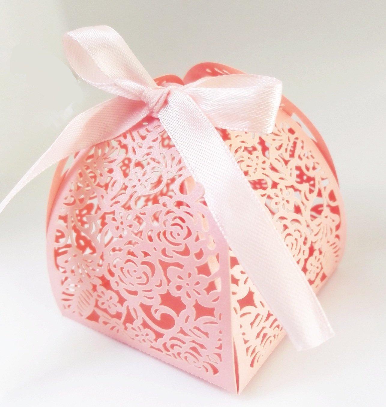 Amazon.com: 100 Pcs Laser Cut Rose Creative Chocolate Box Wedding ...