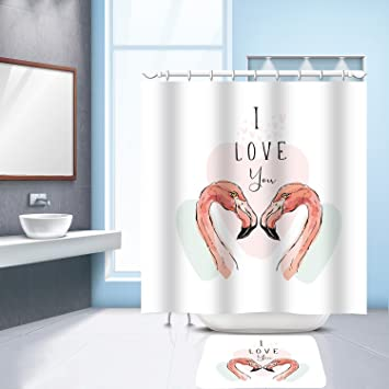Flamingo Style Fabric Bathroom Shower Curtain with 12 Hooks 180cm x 180cm
