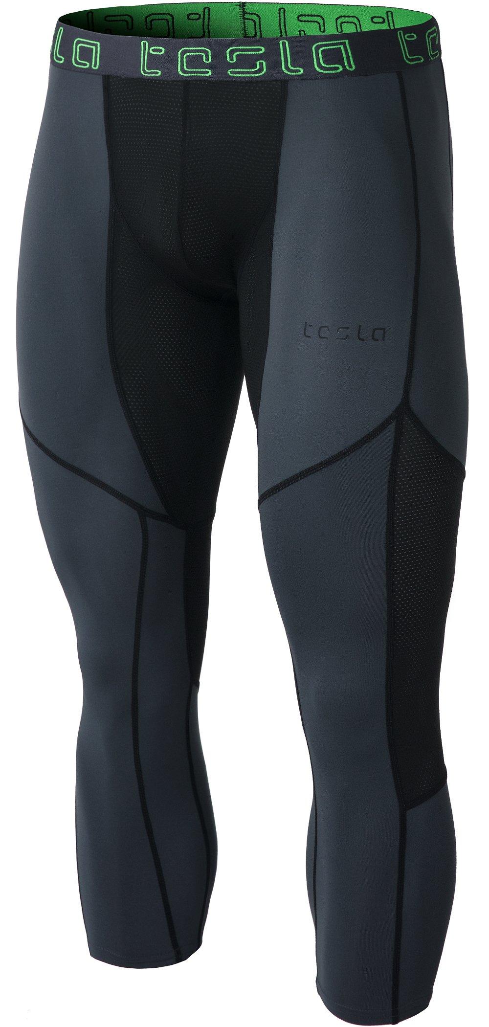 TSLA Men's Mesh-Panel Compression 3/4 Capri Pants Baselayer Cool Dry Sports Running Yoga Tights, Mesh(muc78) - Charcoal & Black, Large by TSLA