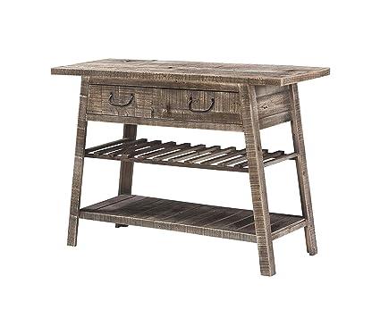 Ridge Console SOFE - Mesa y estante para vino, madera maciza ...