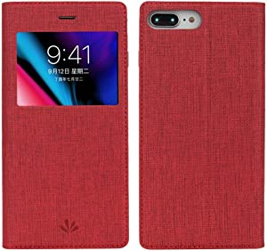 iPhone 8 Plus Case,HuiFlying Premium Leather PU Flip Protective Case Carry Card Slots [Magnetic Closure] [Kickstand] [View Window] Clear TPU Wallet Case Cover for Apple iPhone 8 Plus (Red)
