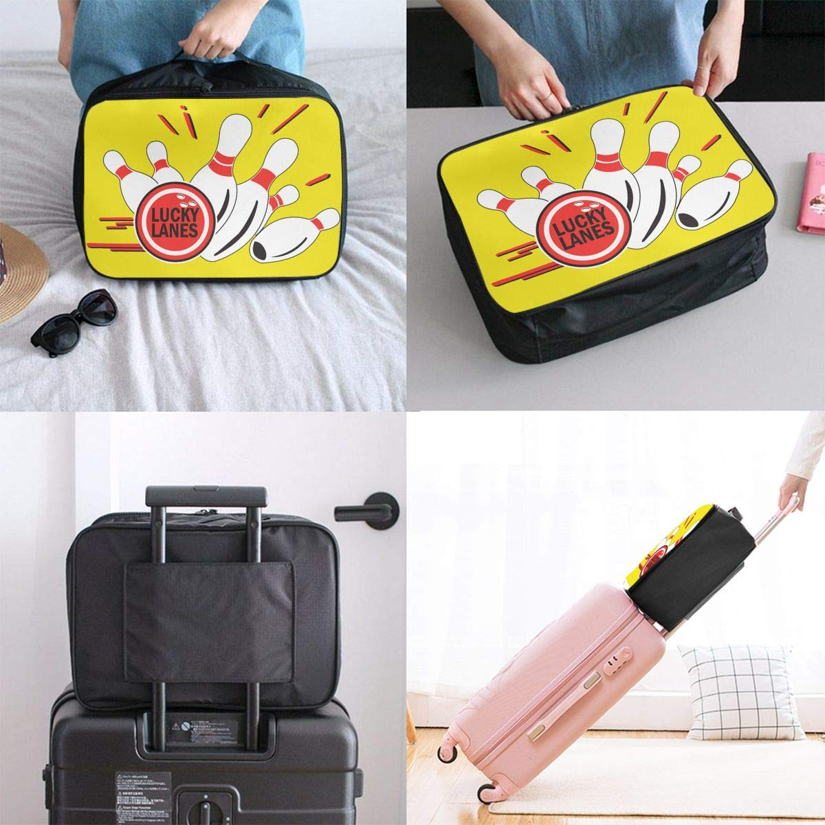 Travel Luggage Duffle Bag Lightweight Portable Handbag Lucky Bowling Large Capacity Waterproof Foldable Storage Tote