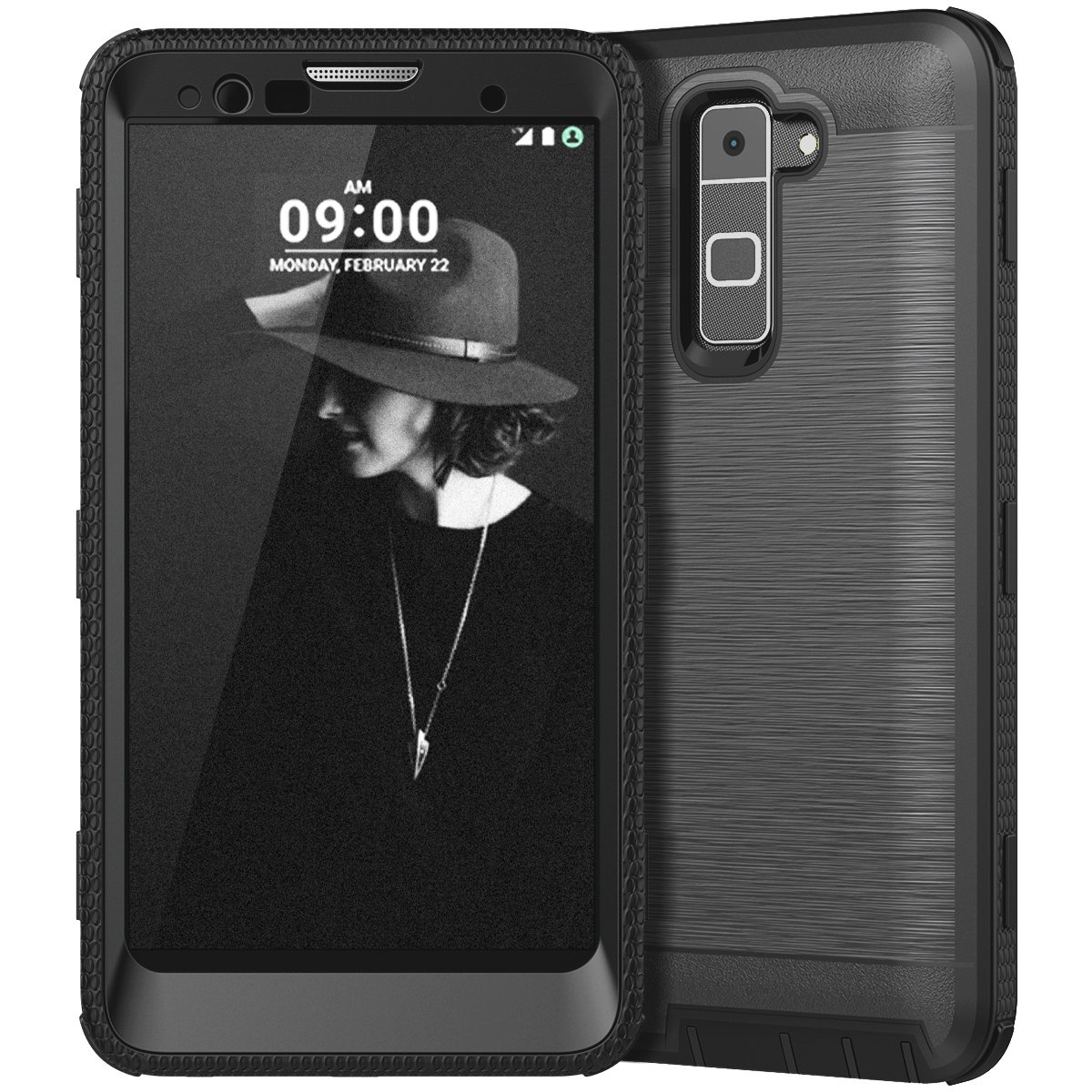LG Stylo 2 Case, LG Stylo 2 Plus Case, CinoCase Heavy Duty Rugged Armor Protective Case Hybrid TPU Bumper Shockproof Case with Brushed Metal Texture Hard PC Back for LG Stylo 2(LS775)/Stylus 2 Black