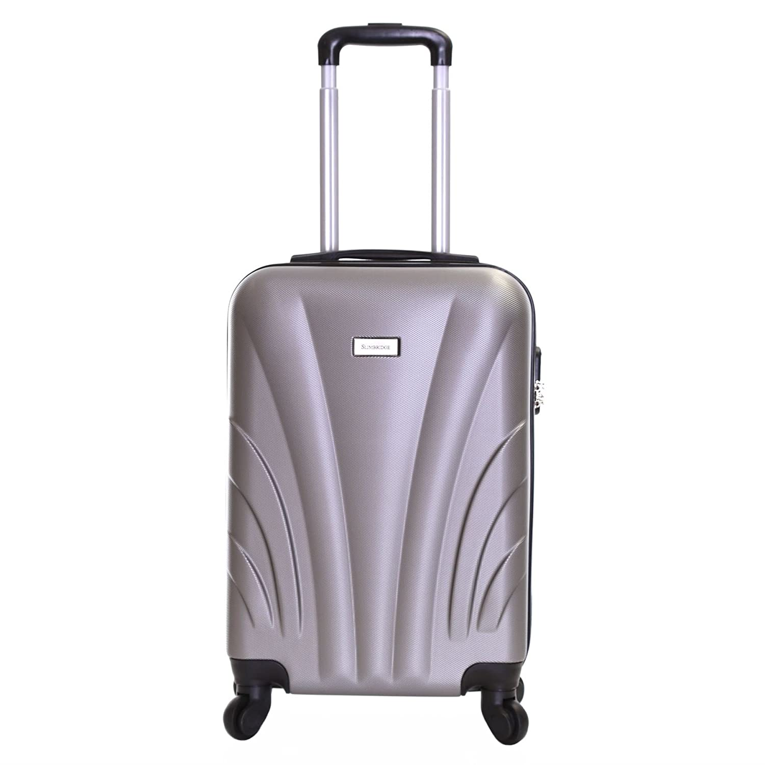 Slimbridge Ferro Super Lightweight ABS Hard Shell Travel Cabin Carry On Hand Luggage Suitcase with 4 Wheels, Approved for Ryanair, EasyJet, British Airways, Virgin Atlantic, Flybe and More, Black Karabar Ltd