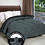 "Cloth Fusion Pacifier 2nd Generation 200GSM Microfiber Reversible AC Comforter for Single Bed - (60""x90"") Inches, Black & Grey"