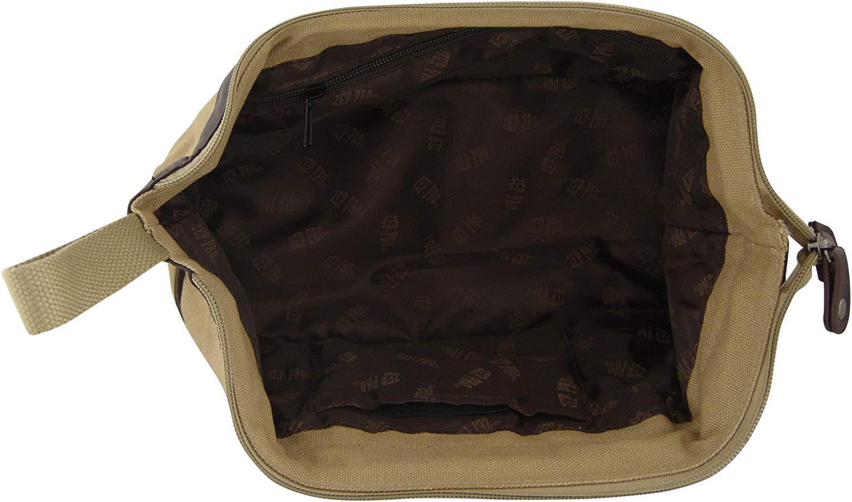ZEP-PRO NCAA mens Zep-pro Khaki Canvas Concho Toiletry Bag