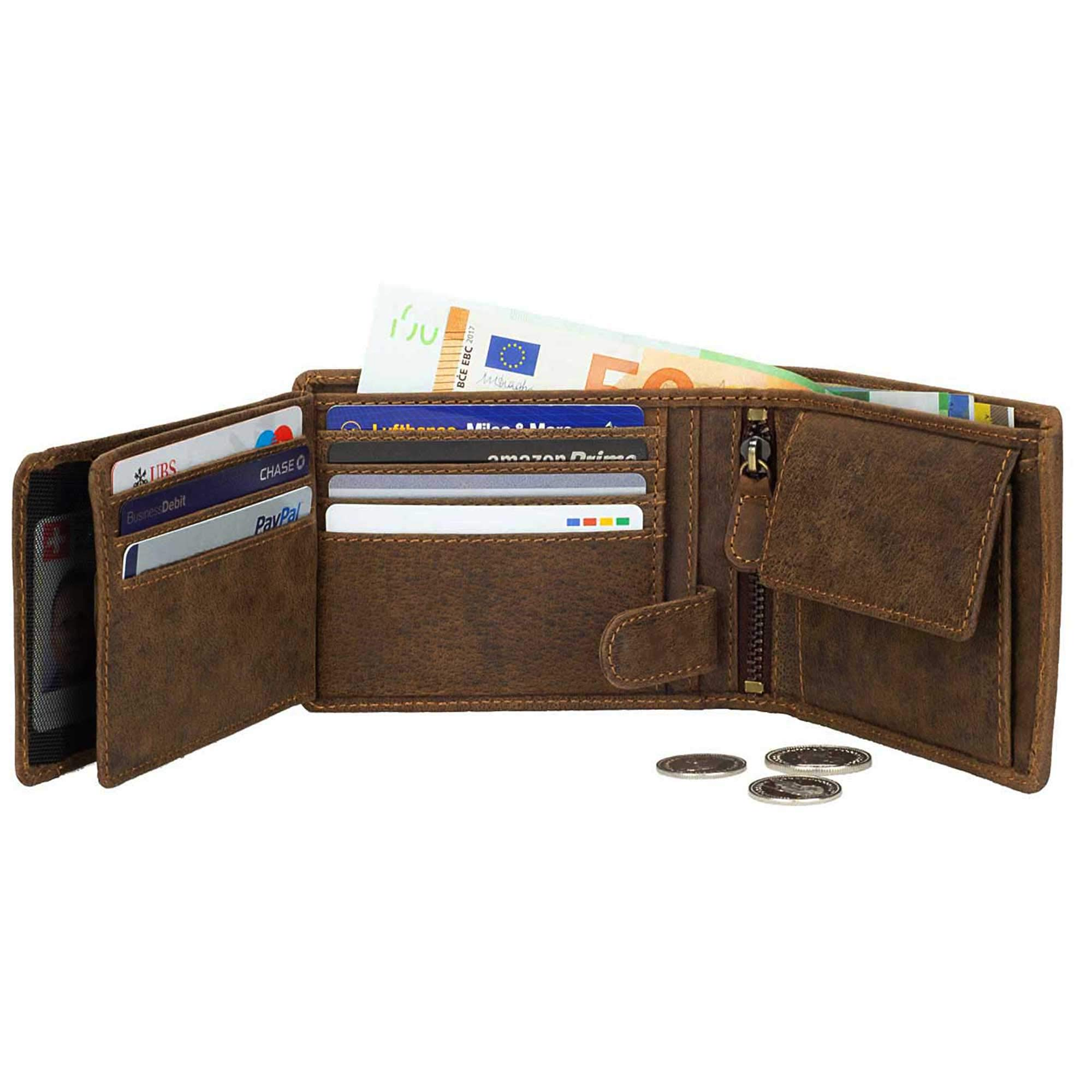 DiLoro Mens Brown Leather RFID Wallet Bifold Double Flip ID Zip Coin Vegetable Tanned Dark Hunter Brown 1808-DHUBR