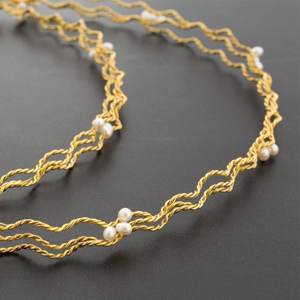 Gold stefana, pair of greek wedding crowns, handmade gold plated over 925 twisted & braided solid sterling silver with fresh water pearls handmade by Emmanuela