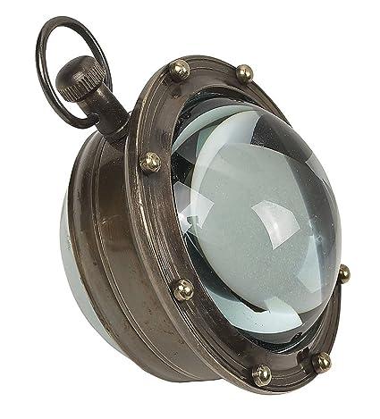 Bullaugen Uhr mit zwei Zeitangaben Maritime Lupenuhr G517 Glaskugeluhr Titanic