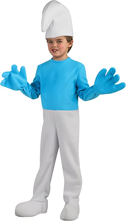 Rubies The Smurfs Kids Smurf Costume Jumpsuit Hat Blue Face Makeup