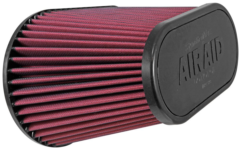 Airaid 721-128 Universal Clamp-On Air Filter: Oval Tapered; 4.5 in (114 mm) Flange ID; 7.375 in (187 mm) Height; 11.5 in x 7 in (292 mm x 178 mm) Base; 9 in x 4.5 in (229 mm x114 mm) Top AIR-721-128