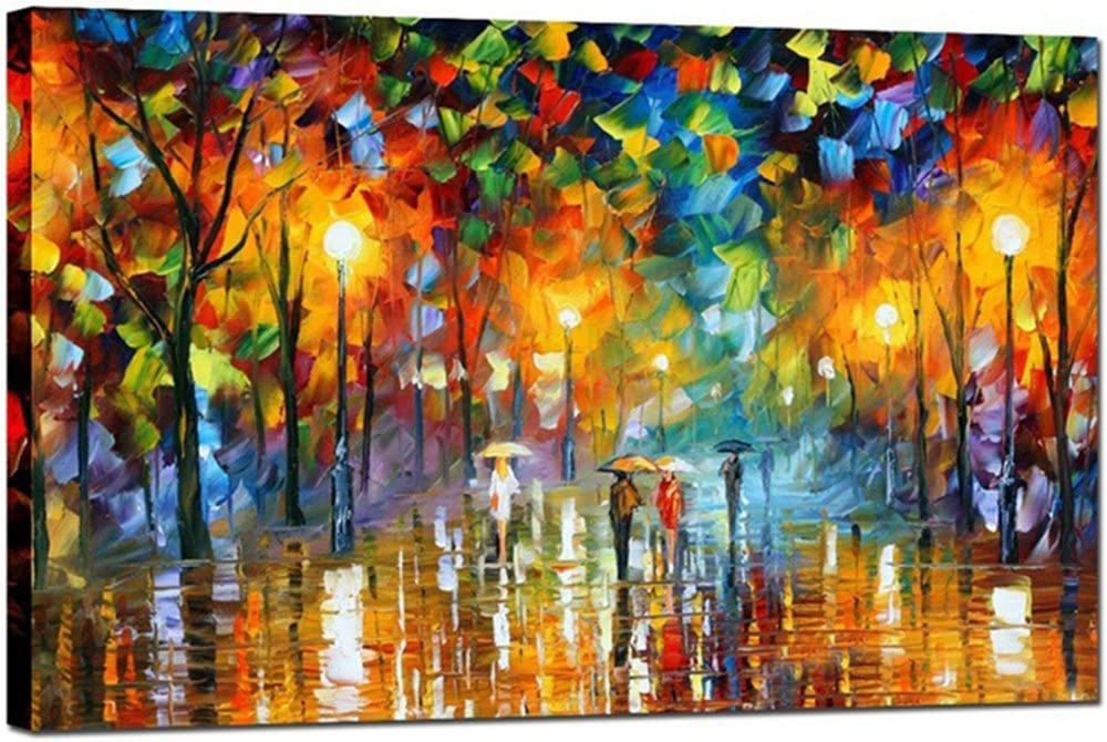 Amazon Com Goupsky Tree Oil Painting Colorful Palette Knife Modern Abstract Artwork Rainy Night Canvas Street Landscape Wall Art 12x24 Inch Paintings