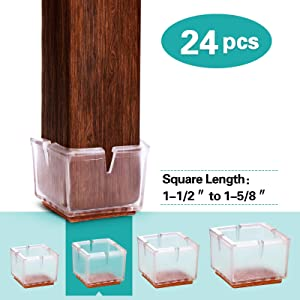 MelonBoat Chair Leg Floor Protectors with Felt Furniture Pads, Chair Glides Feet Caps, A-SQ039, 24 Pack, Fit Square Length 1-1/2 inches to 1-5/8 inches (3.6-4.15cm)