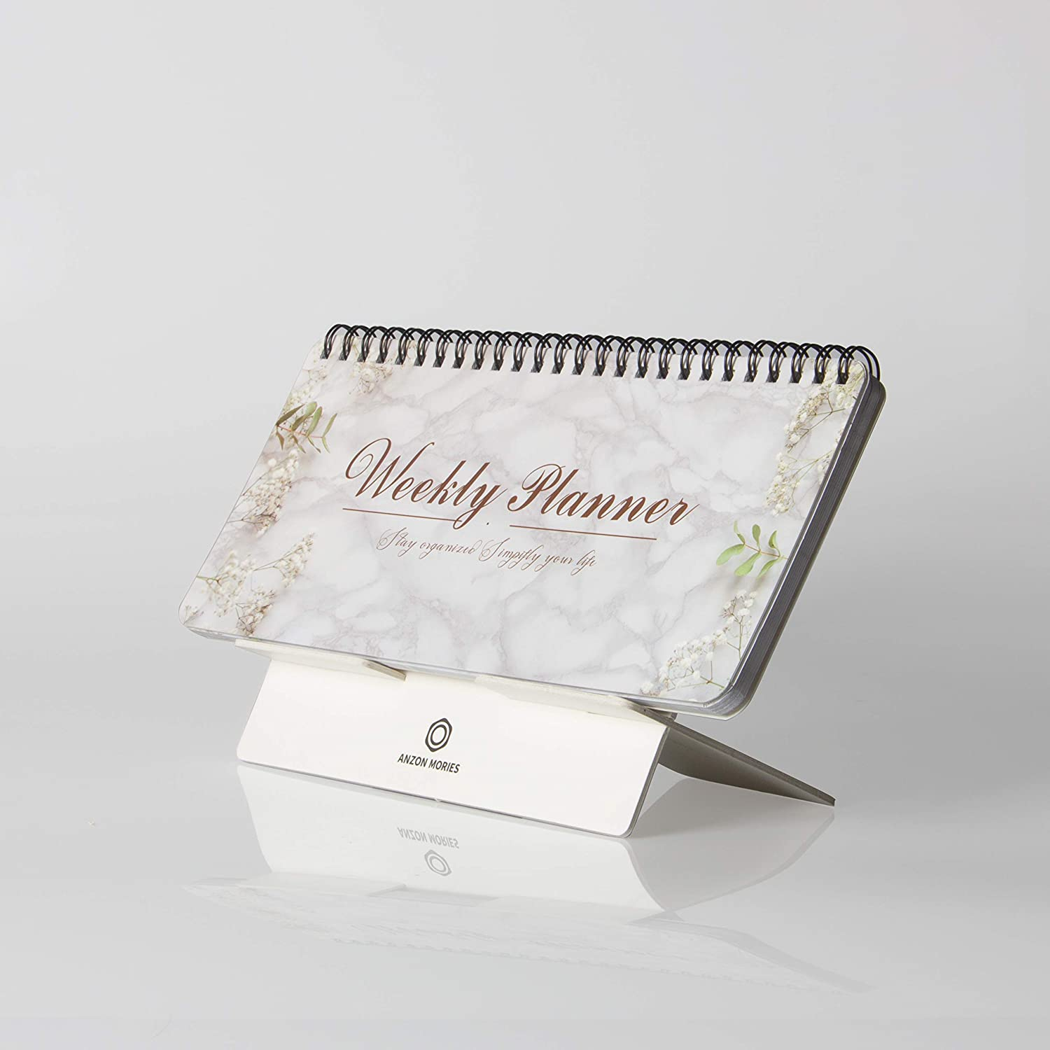 """Portable Weekly Planner v.6 with a Removable Stand - 53 Sheets 9x4"""" Undated Desk Calendar, Spiral scheduler Pad for Home Office, To Do List, Meal Notepad, Appointment Book, Daily Memo, Quick Note"""
