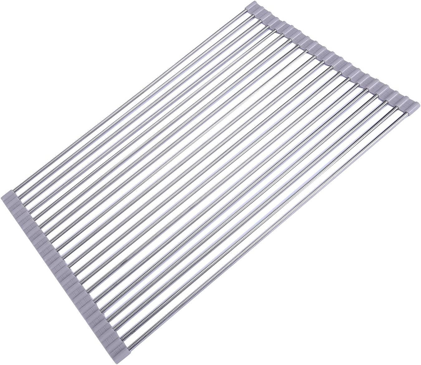 """17.8"""" x 14.2"""" Wide Roll up Dish Drying Rack over the Sink Folding Dish Rack Portable Dish Drainers for Kitchen Sink Counter Roll-up Drying Rack RV Foldable Dish Drying Rack By Ahyuan (Warm Grey)"""