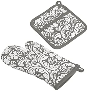 "DII Cotton Damask Oven Mitt 12 x 6.5"" and Pot Holder 8.5 x 8"" Kitchen Gift Set, Machine Washable and Heat Resistant for Cooking and Baking-Gray"