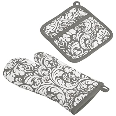 DII Cotton Damask Oven Mitt 12 x 6.5  and Pot Holder 8.5 x 8  Kitchen Gift Set, Machine Washable and Heat Resistant for Cooking and Baking-Gray
