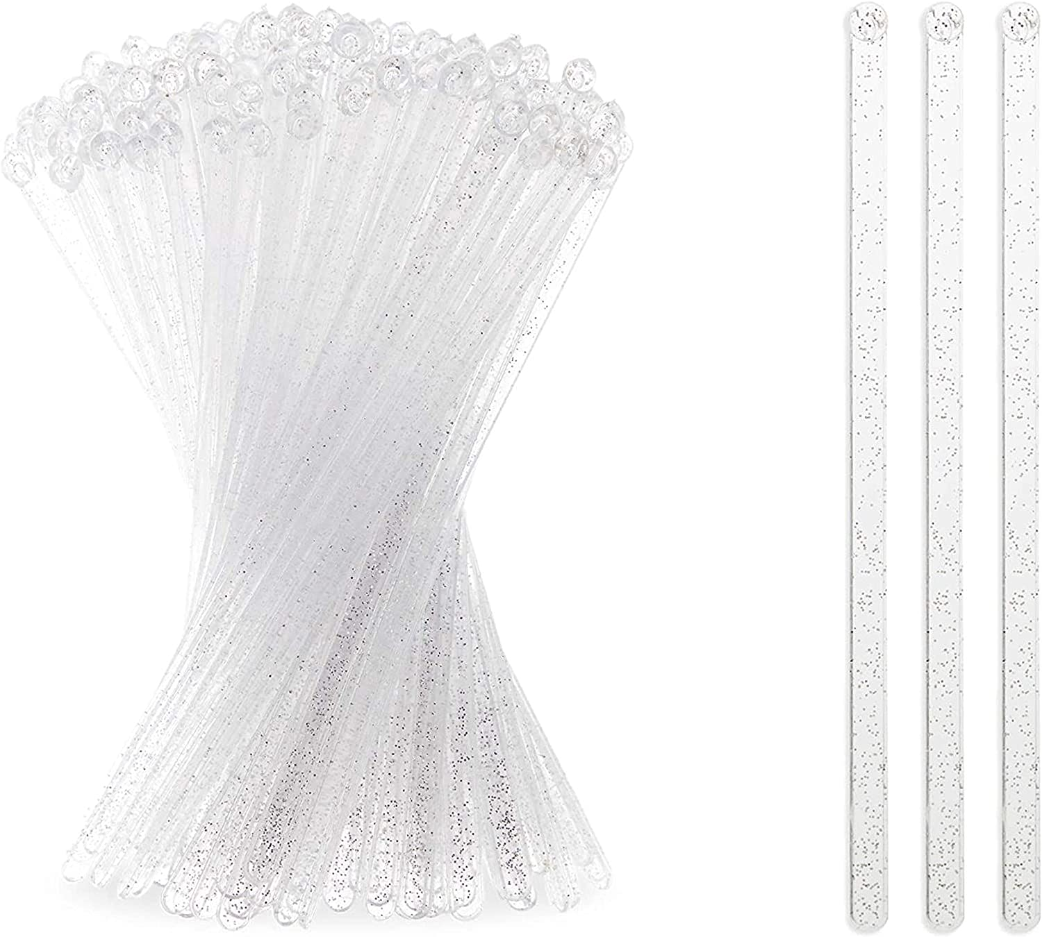 Silver Glitter Swizzle Sticks for Cocktails, Clear Drink Stirrers (7 In, 150 Pack)