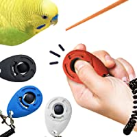 SunGrow Parrot Clickers with Black Wrist Bands, 2.4x1.8 Inches, Parrot Training with Chopstick, 4 Clickers per Pack