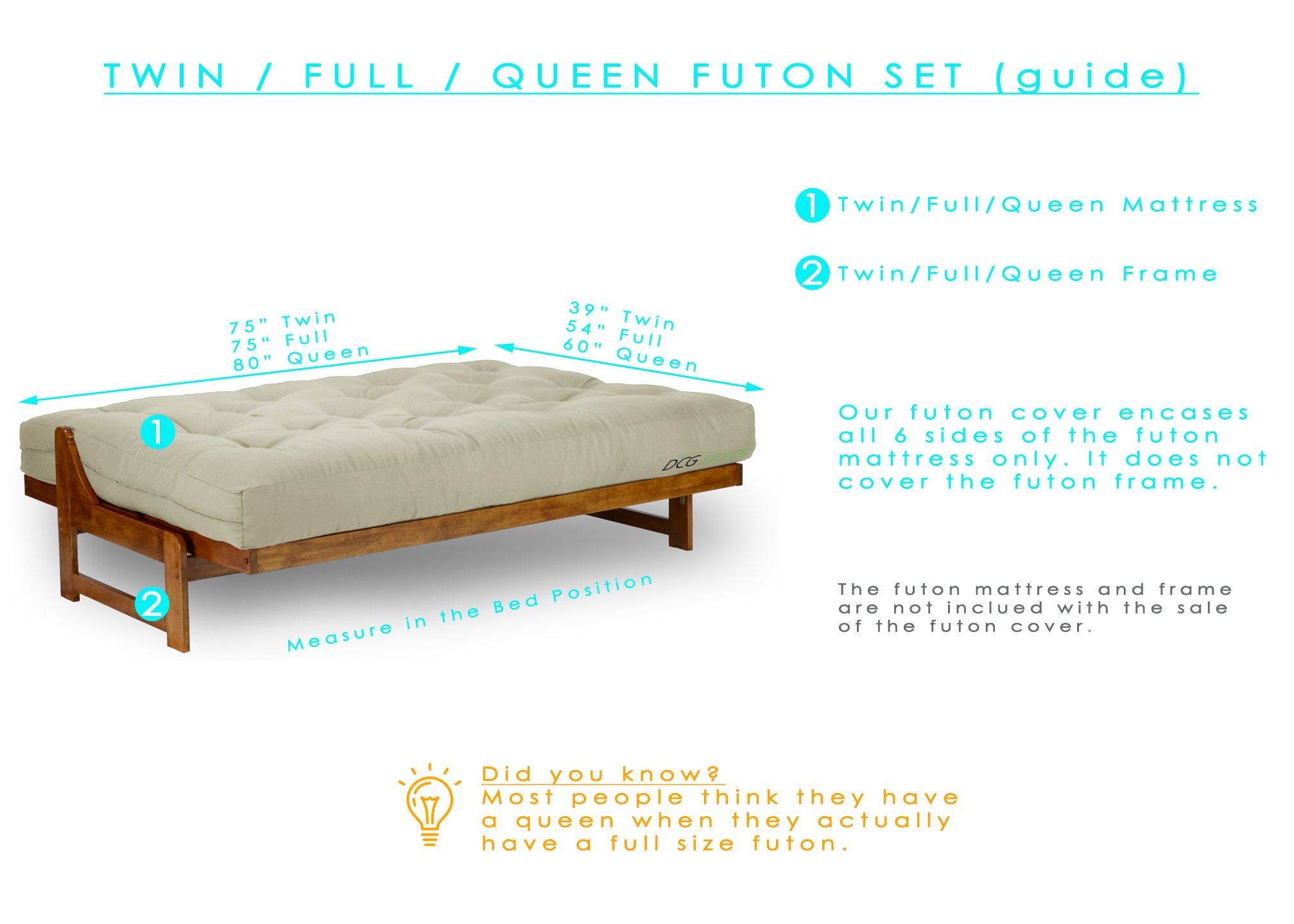 Cognac Queen Futon Mattress Cover (60-inch x 80-Inch) - Proudly Made in USA by Nirvana Futons (Image #2)