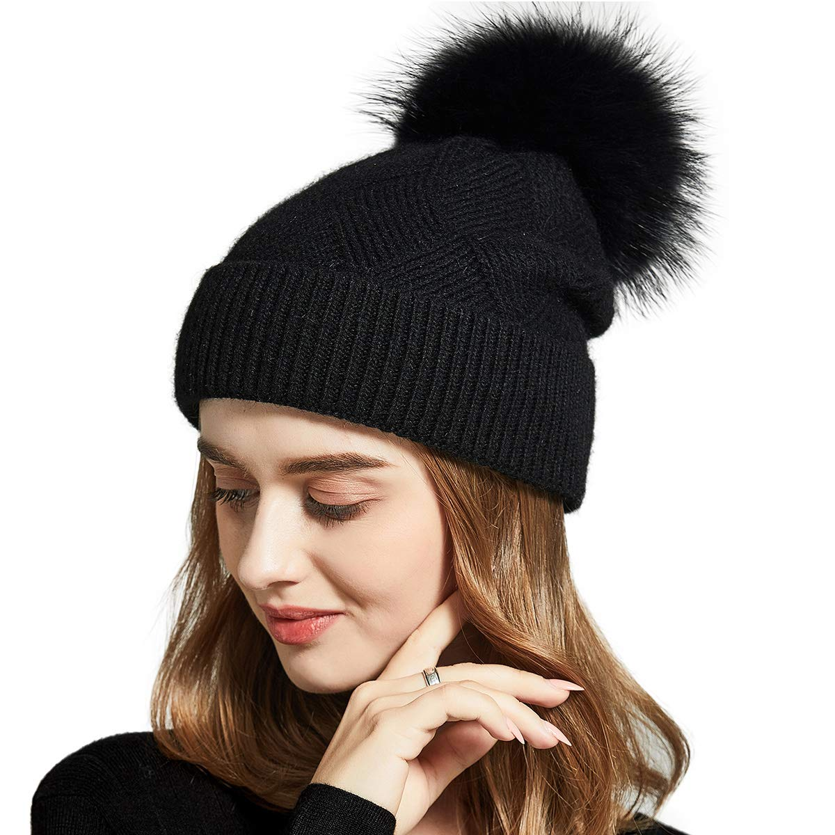 SOMALER Knitted Beanie hat for Women Girls Racoon Real Fur Pompom Winter Chunky Baggy Hat 10 Colors
