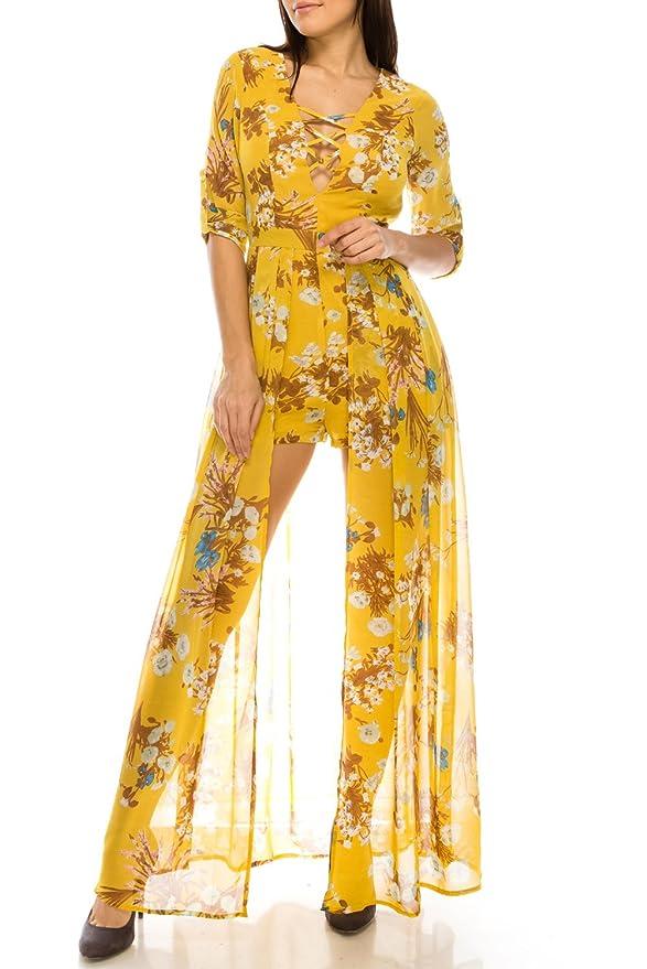 4ff0376b3cc Amazon.com  Women s 3 4 Sleeve Deep V Crisscross Neck Maxi Skirt Overlay  Floral Printed Romper Dress  Home   Kitchen