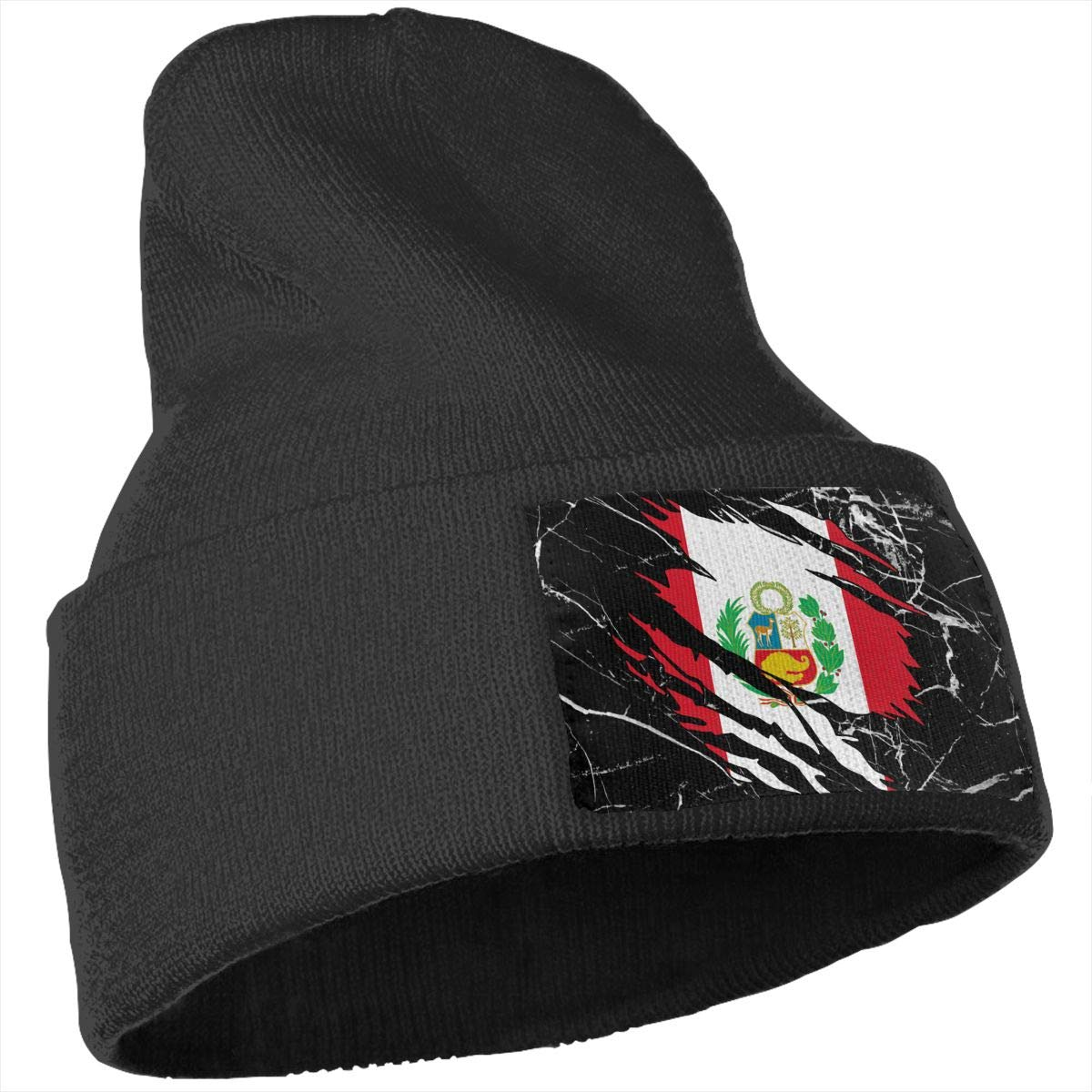 Stretchy /& Soft Winter Ski Knit Caps Ripped Peru Flag Men /& Women Solid Color Knit Beanie Hat