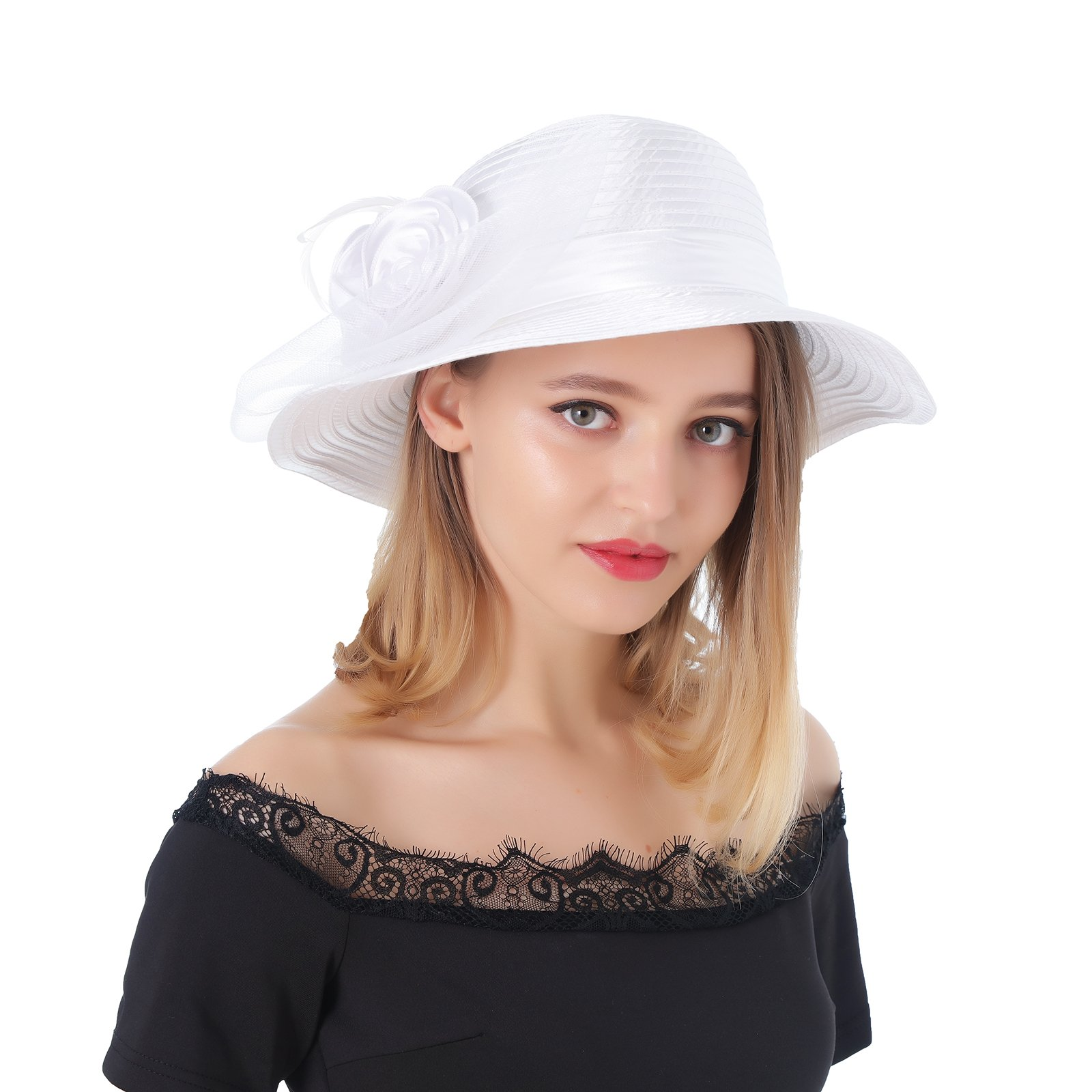 Dantiya Women's Organza Wide Brim Floral Ribbon Kentucky Derby Church Dress Sun Hat (Free, 2 Style-White)