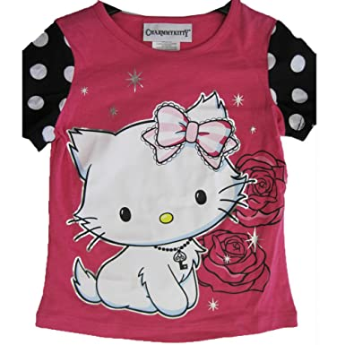 8b623cc0 Hello Kitty Big Girls Pink White Black Dot Sleeves Rose Star Print T-Shirt  7-8: Charmmy Kitty: Amazon.co.uk: Clothing