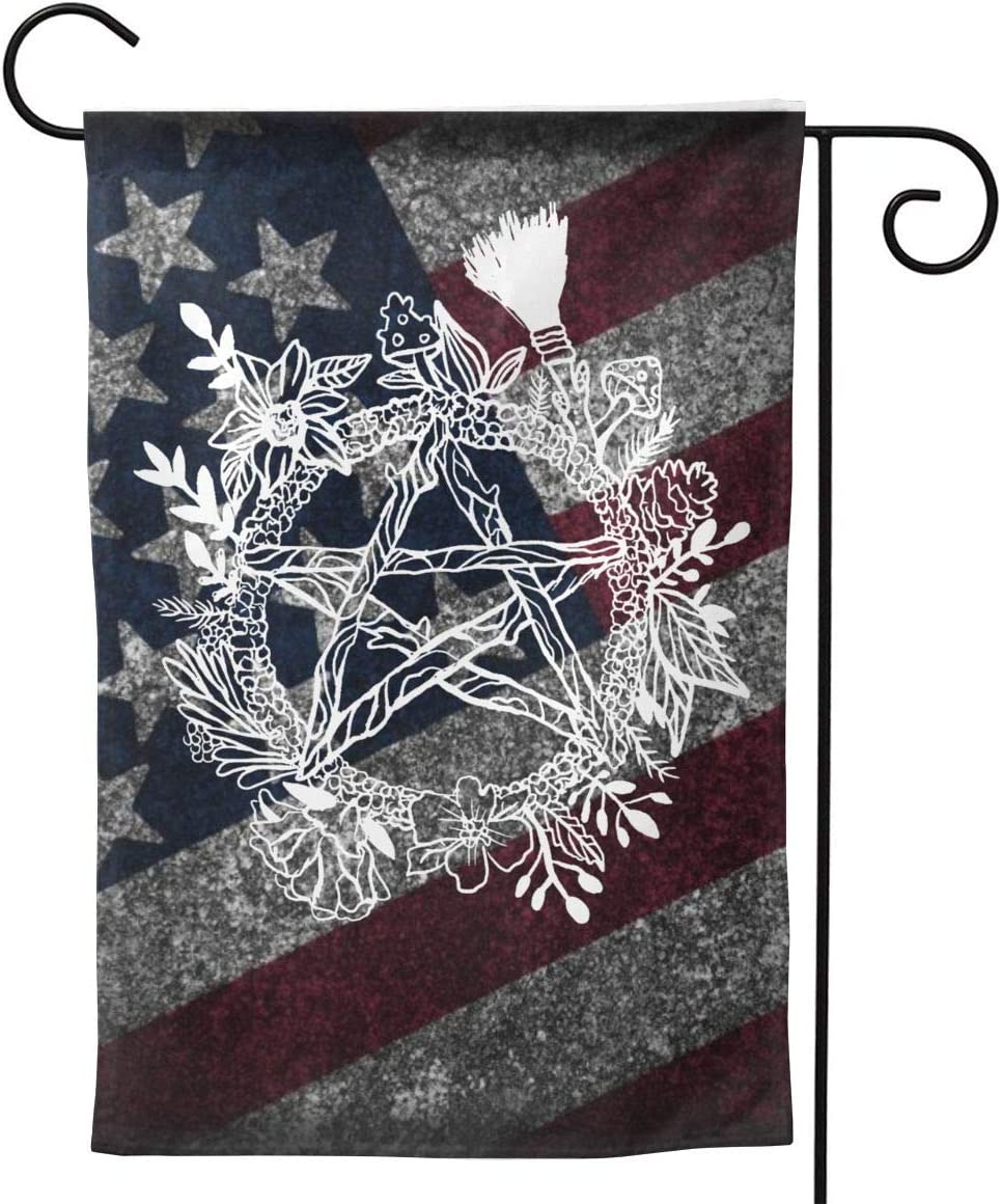 """CHANGQUDD Goth Pentacle Wreath Wicca Witch Pagan Garden Flag Welcome Banner for Patio Lawn Party Yard Home Outdoor Decor, On Both Sides, 12.5""""X18"""" / 28""""X40"""""""