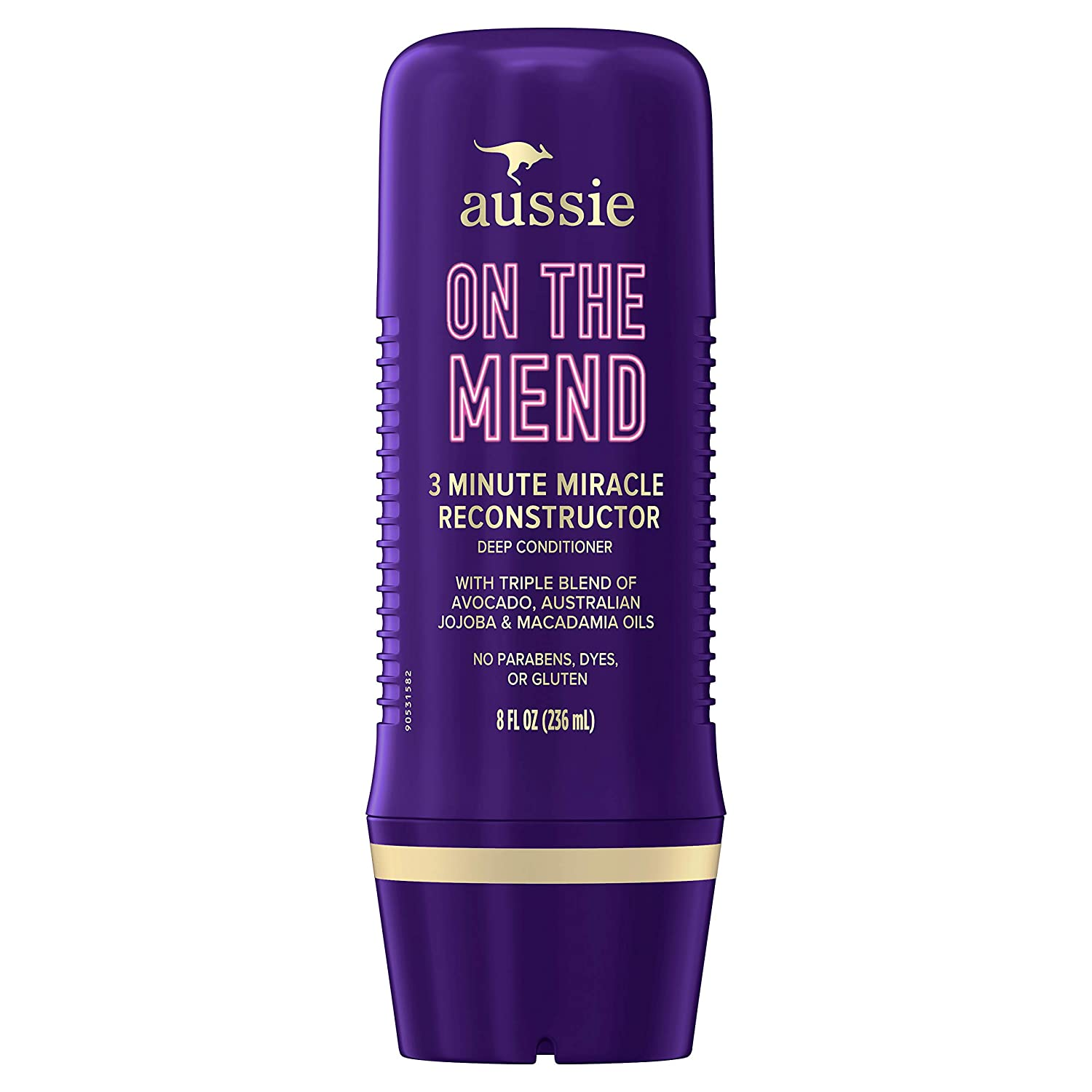 Aussie On The Mend 3 Minute Miracle Reconstructor Deep Conditioner, Triple Oil Blend of Avocado, Australian Jojoba and Macadamia Oils, Paraben & Dye Free, 8 Oz