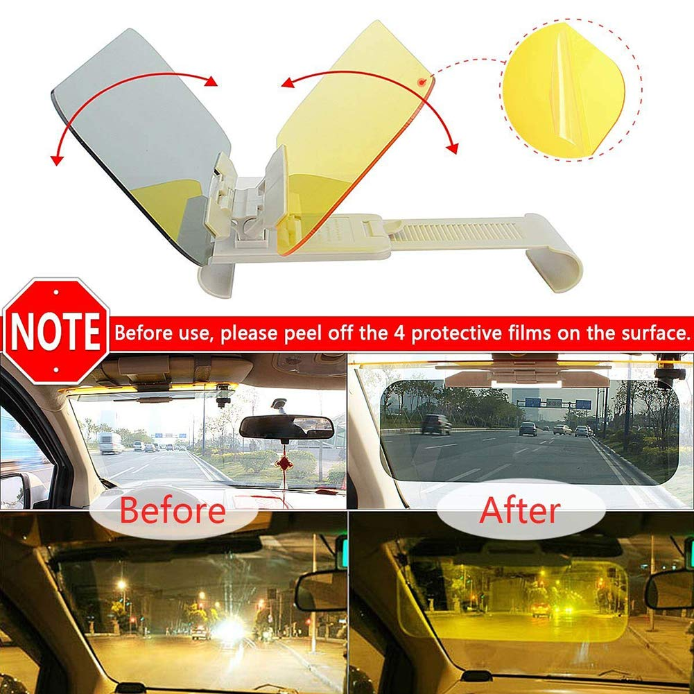 JSword Car Sun Visor Extender, Day and Night Vision Anti-Glare Driving Visor, 2 in 1 Sun Blocker for Eye Protector, Universal Automobile Anti-UV Sunshade Windshield Extension for Cars, SUVs