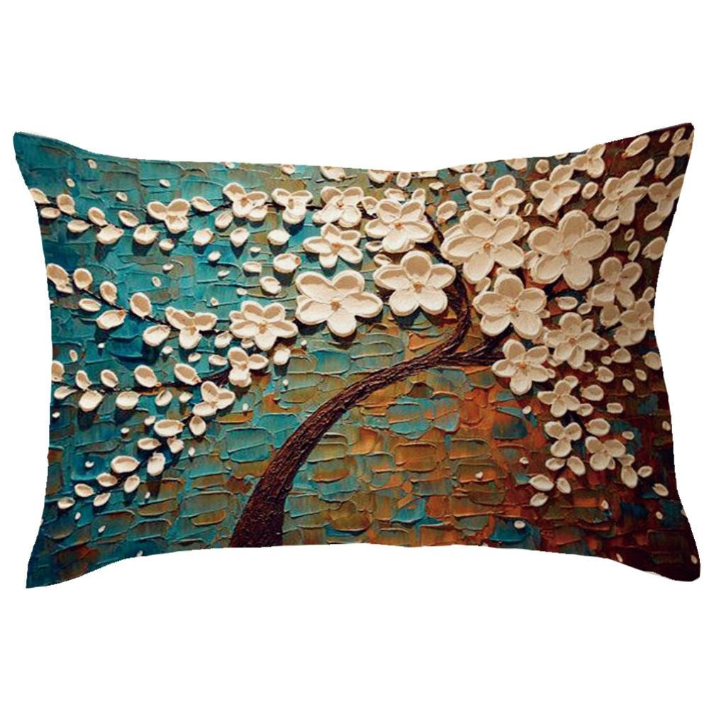 Usstore 1PC Decorative Pillowcases zip Rectangle Tree Printing Throw Pillow Cover Cafe Home Decoration for Living Sofas Beds Room (Q)