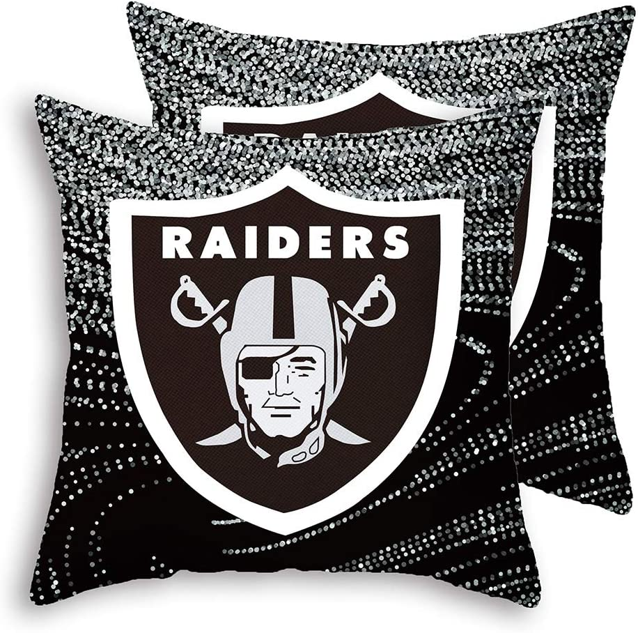 """Gloral HIF Oakland Raiders Throw Pillow Covers Set Pack of 2 Cotton Linen Zippered Pillowcase for Car 18"""" x 18"""""""