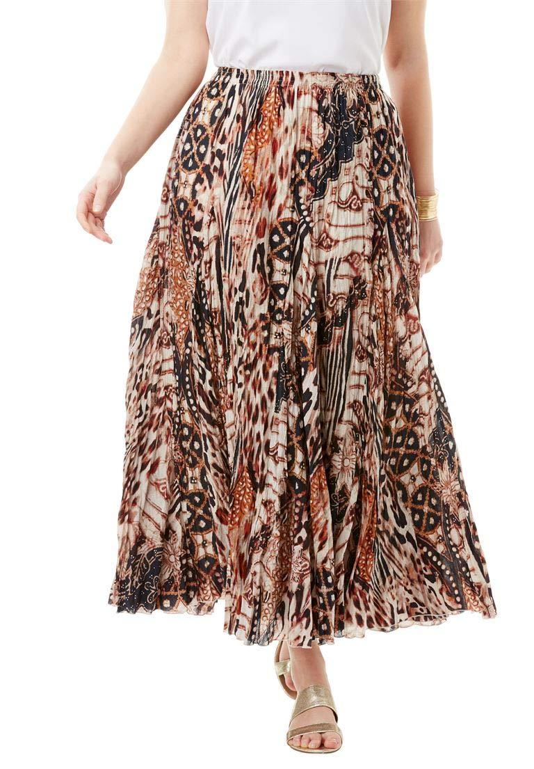 Jessica London Women's Plus Size Cotton Crinkled Maxi Skirt Brown Animal,20