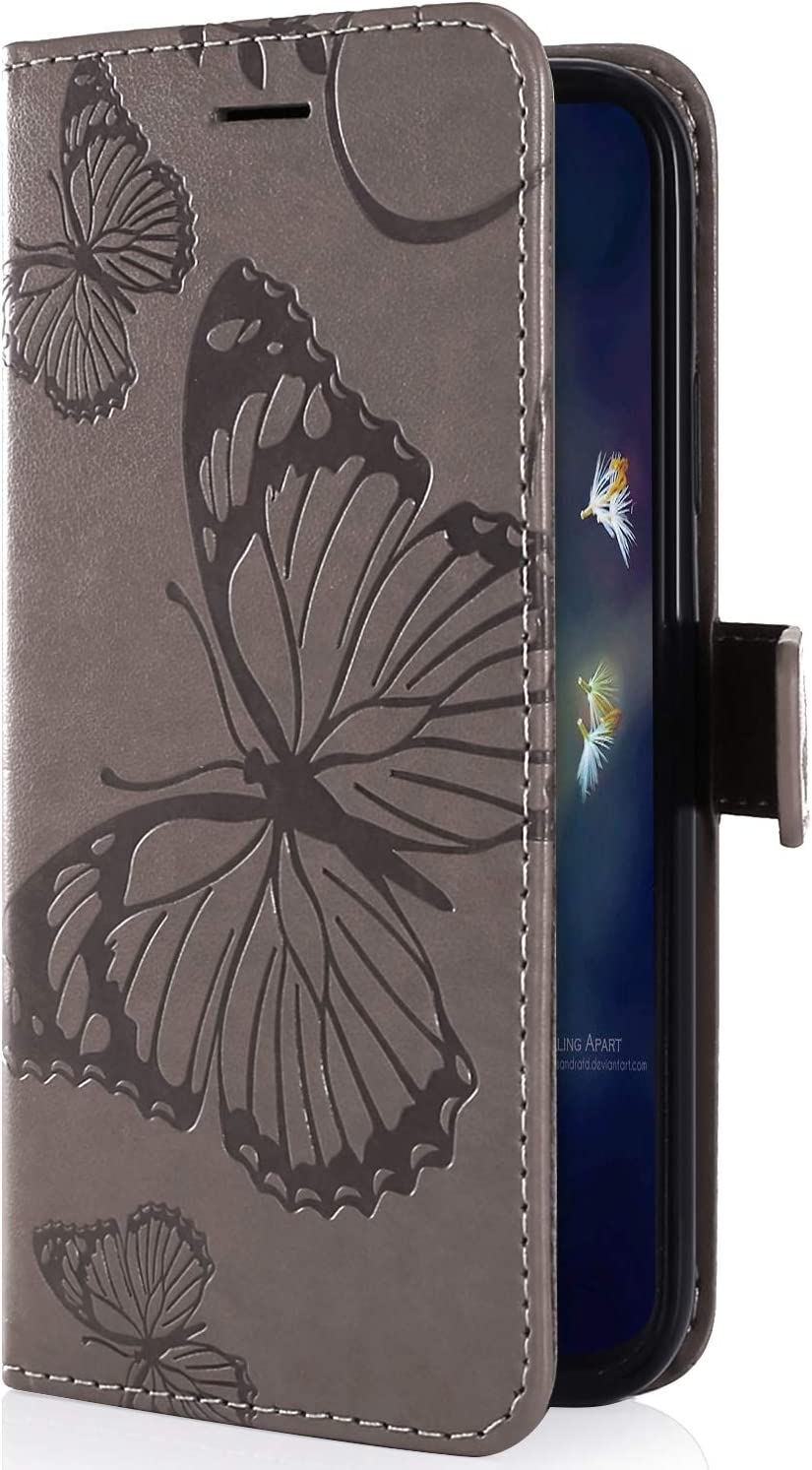 IKASEFU Compatible with Samsung Galaxy S10 Plus Case Emboss butterfly Pu Leather Wallet Strap Card Slots Shockproof Magnetic Stand Support Folio Flip Book Cover Protective Case,blue
