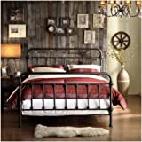 9dc41fb293fc5b TRIBECCA home Wrought Iron Bed Frame Dark Bronze Metal Queen Size USA  Vintage Look Shabby Chic