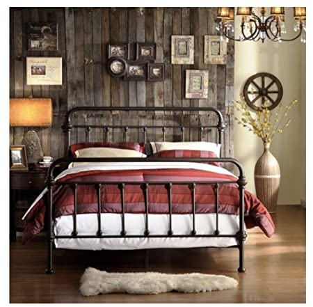 Amazon.com: Wrought Iron Bed Frame Dark Bronze Metal Queen Size Free ...