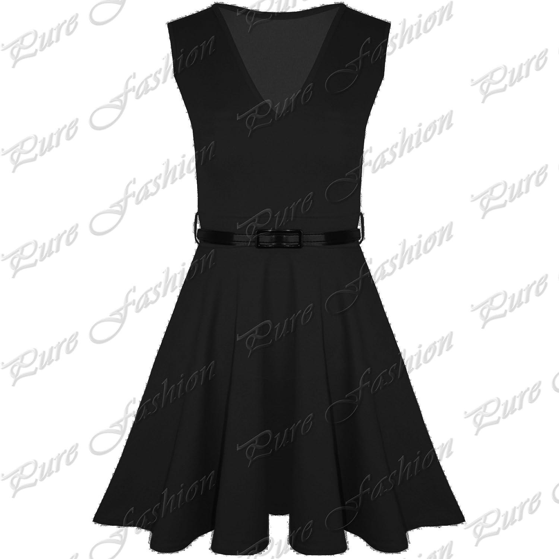 Pure fashion Damen Skater-Kleid Ärmellos Mehrfarbig: Amazon.de: Bekleidung