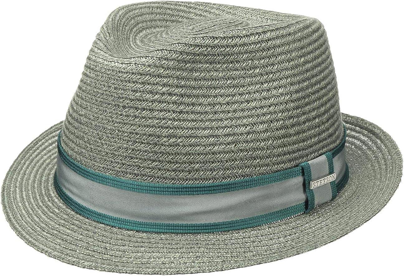 Stetson Sombrero de Paja Ashville Abaca Trilby Hombre - Sol Verano con Banda Grosgrain Primavera/Verano