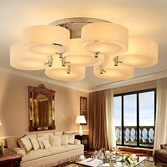 KusunR Weiss Deckenleuchte 7 Flammig 90cm Deckenlampe Kronleuchter Wohnzimmer Lampe Ohne Beleuchtung