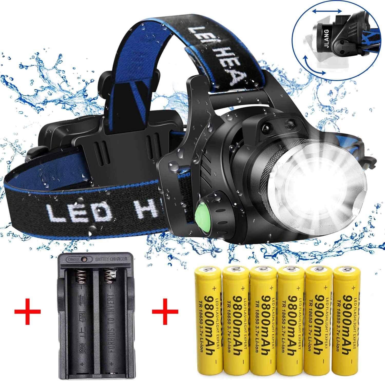 Éclairage à 3 Lampe Frontale LED Rechargeables USB Étanche en Alliage