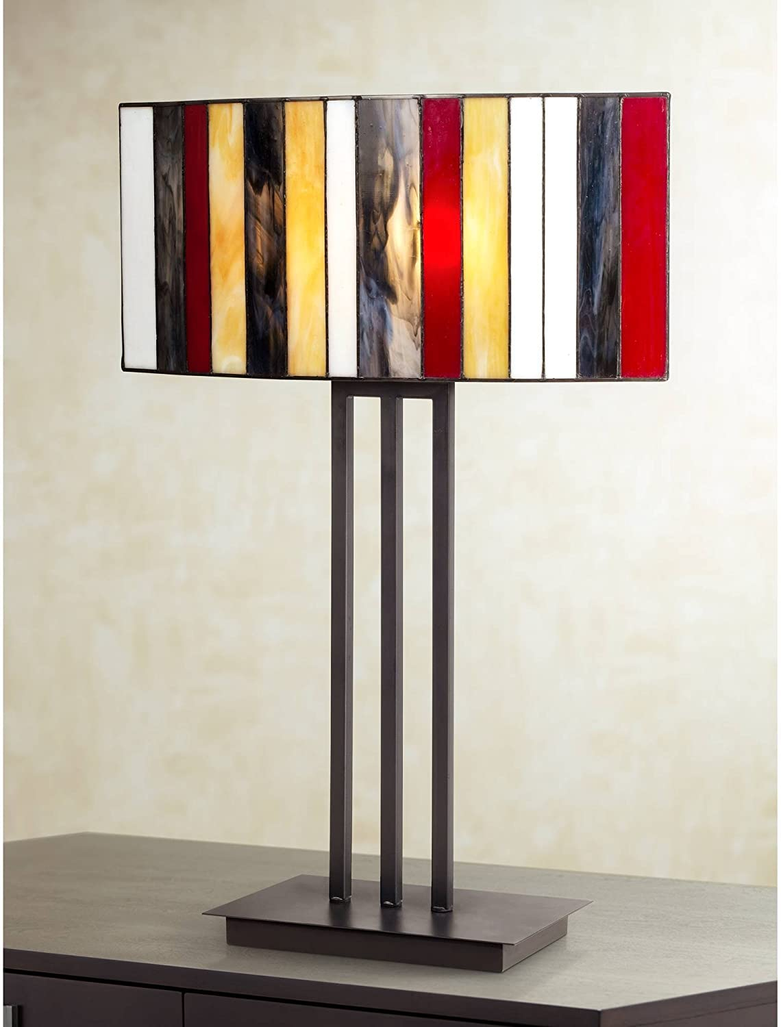 Modern Tiffany Style Table Lamp Decor Bronze Brown Iron Multi Color Striped Stained Glass Shade For Living Room Bedroom House Bedside Nightstand Home Office Reading Family Robert Louis Tiffany Amazon Com
