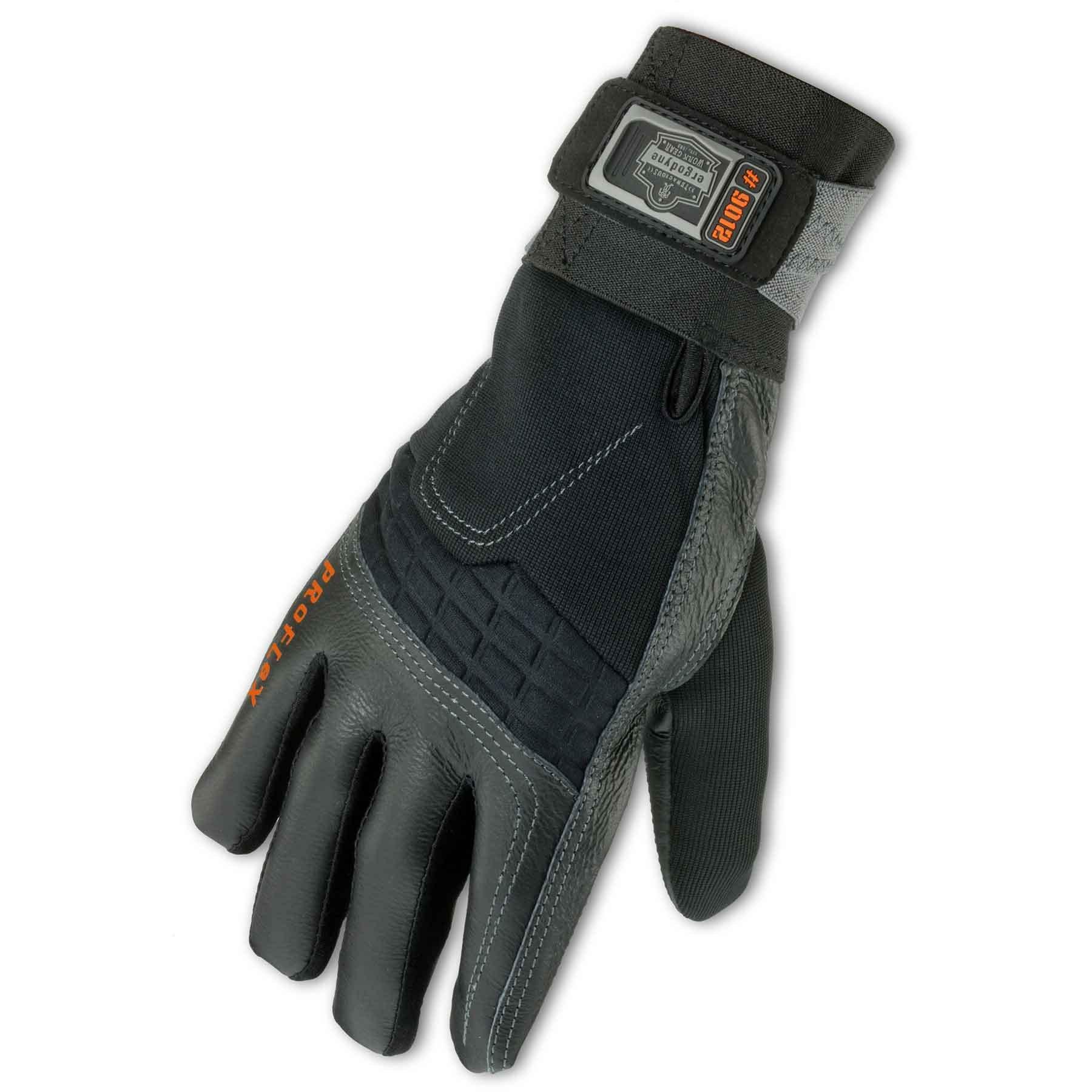Ergodyne ProFlex 9012 Certified Anti-Vibration Work Glove with Wrist Support, X-Large, Black