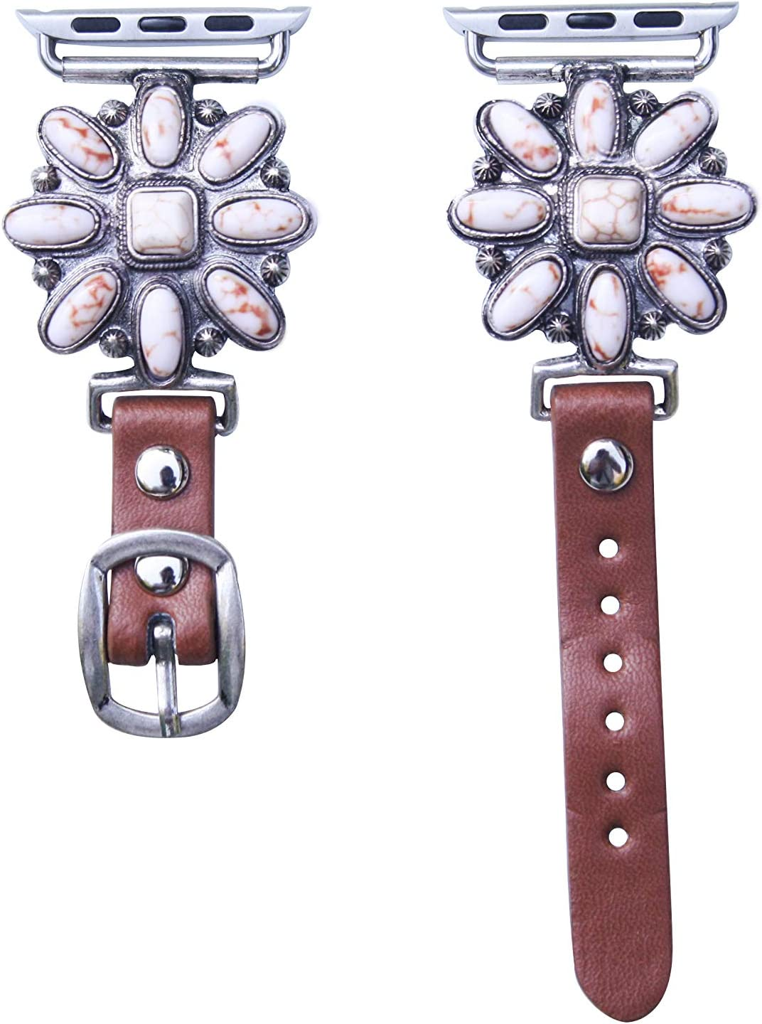 40mm/38mm Compatible for Apple Watch, Delicate Western White Abstract Flower Watch Band No. 27W