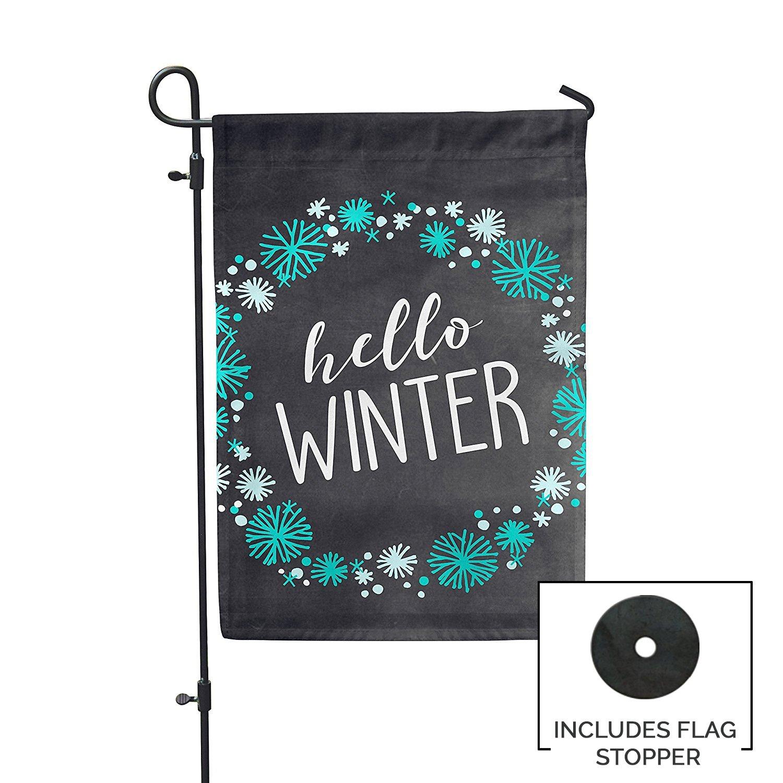 Second East Hello Winter Garden Flag Outdoor Patio Seasonal Holiday Fabric 12'' X 18''