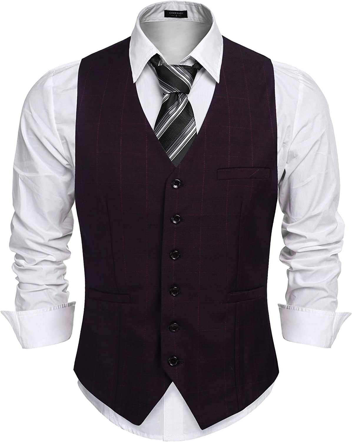 COOFANDY Men's Suit Vest Business Formal Dress Waistcoat Vest 6 Button Wool Vest
