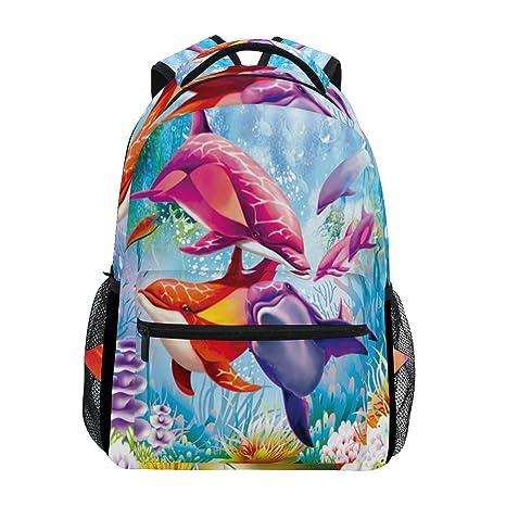 COOSUN Pintura Ocean World Dolphin Mochila Casual Escuela Mochila bolsa de viaje Dolphin Pintura Ocean World