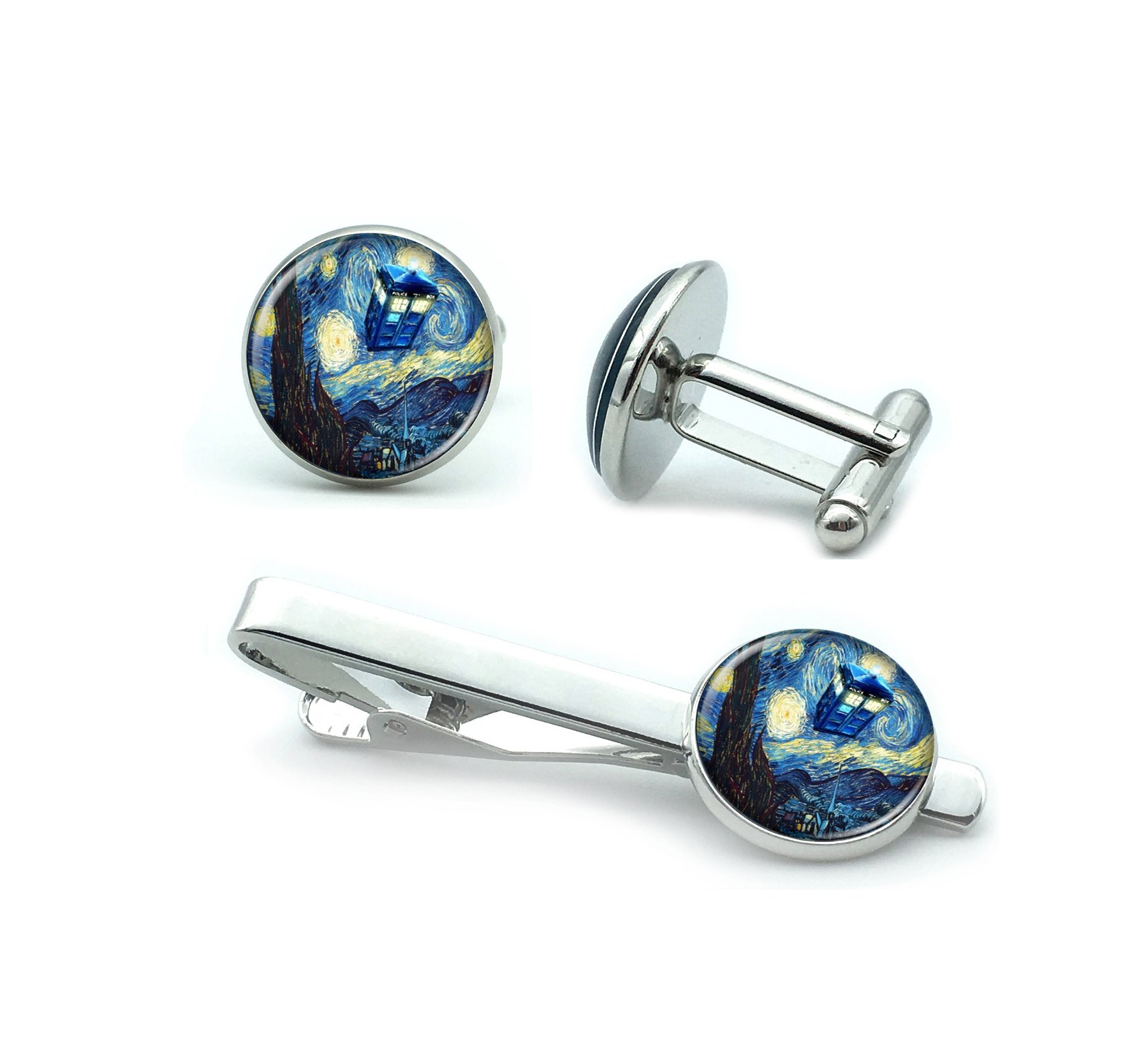 Mens' Silver Set of Cufflinks and Tie Clip Wedding Doctor Who TARDIS Starry Night Gift Box